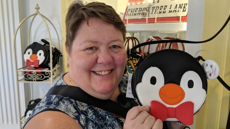 Mary Poppins had a scene dancing with penguins and with the return of Mary Poppins to theaters the penguin paraphernalia is out at the United Kingdom World Showcase Pavilion. Unfortunately at about $75USD we did not take one home.