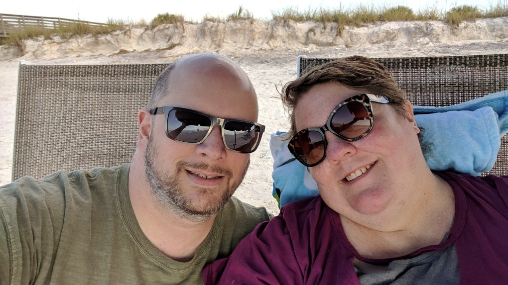 Enjoying the warmth at Honeymoon Island State Park on our 20th Anniversary