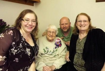 Allie, Verna, Jason and Luanne at Verna's 100th birthday celebration February 23, 2019