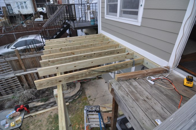 back deck joists attached