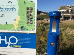 information board and blue water refill station