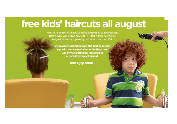 FREE Kids Haircuts During The Month Of August – JCP Free Haircuts