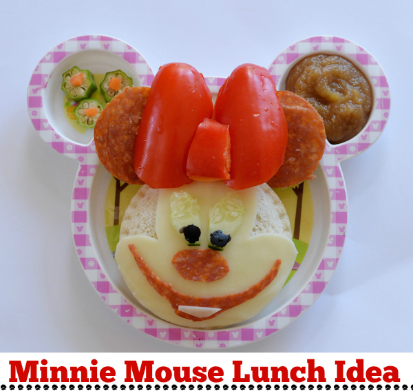 ... red bell pepper and black olives to create this adorable Minnie Mouse