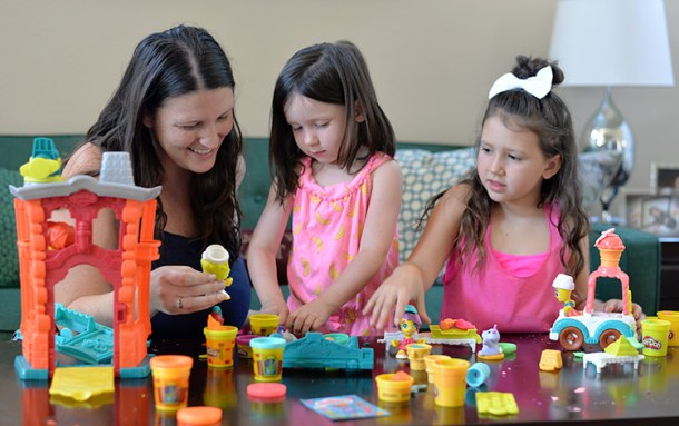 PlayDoh Town Kids playing with mom