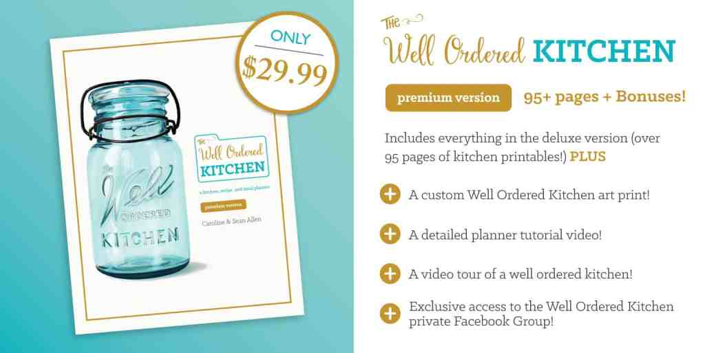 Do you wish you had a way to organize your kitchen effectively? The Well Ordered Kitchen Planner has the answer to your organization problems. Well Ordered Kitchen | Kitchen Planner | Cooking Real Food