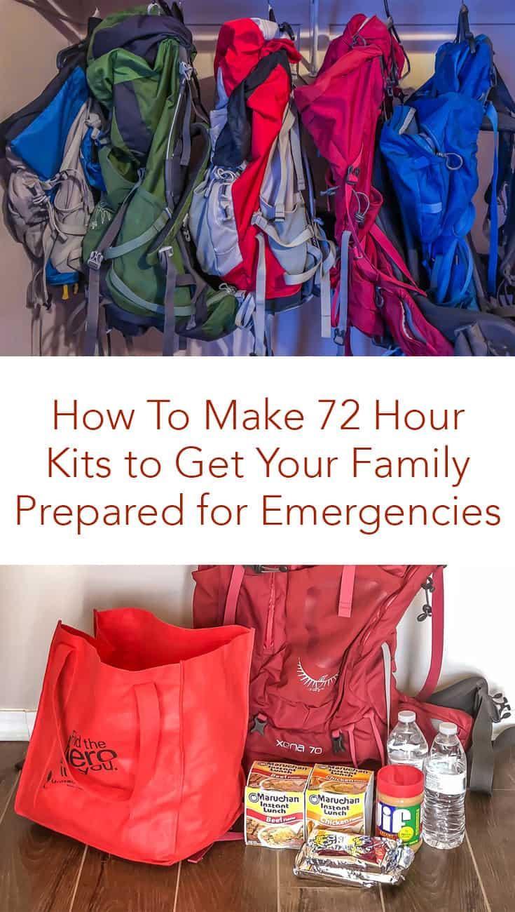 Are you worried about emergency preparedness? Click here to see how to make 72 Hour Kits to help your family get prepared for all kinds of emergencies and gain peace of mind. #72hourkits #emergencypreparedness #family #emergency