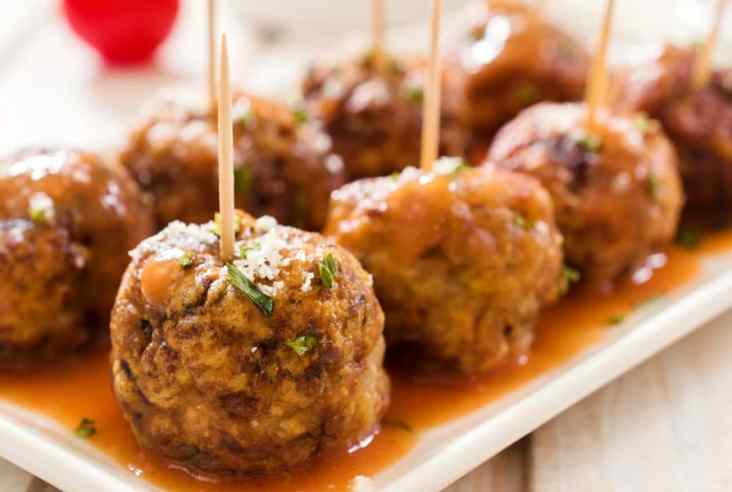 meatballs on a white plate