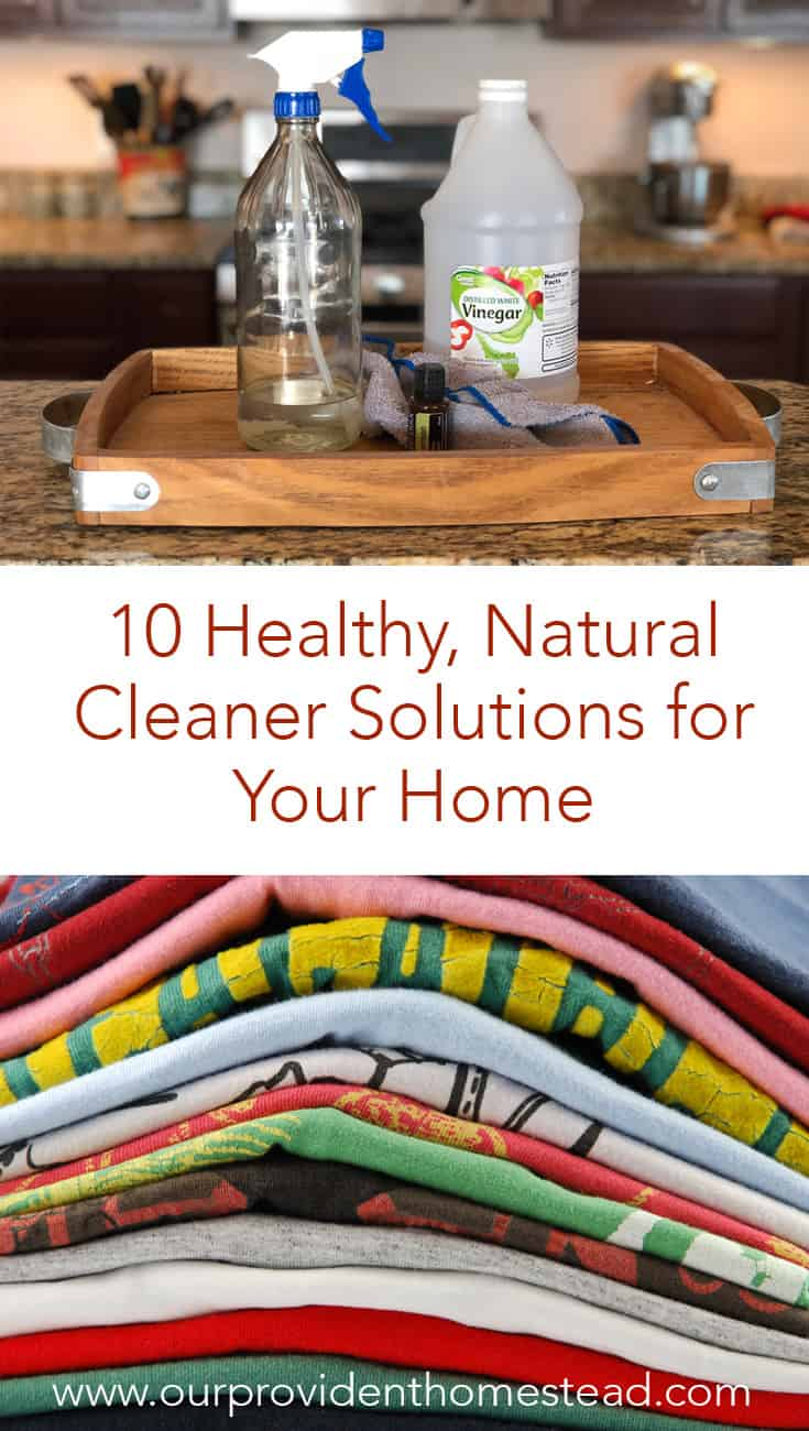 Are you looking for a more natural way to clean your home this spring? Click here for 10 healthy, natural cleaner solutions to DIY a clean home and start spring cleaning with these recipes today! #springcleaning #naturalcleaning #homemadecleaner #naturalhealth #cleaningtips #naturalhome