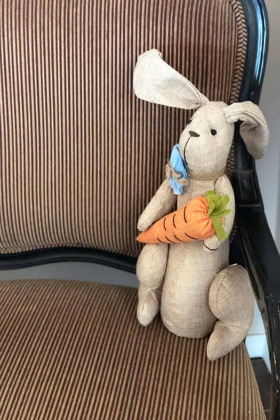 Easter bunny stuffed animal on a chair