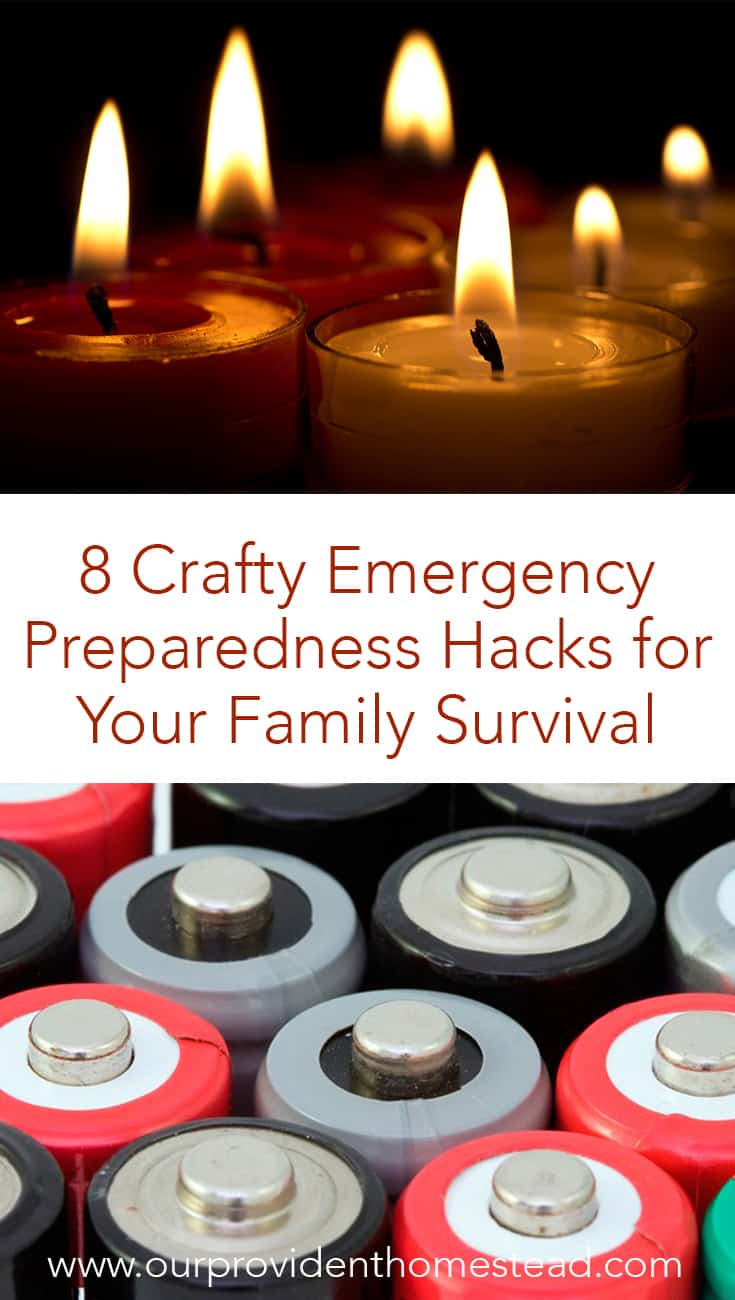 Worried about survival and preparing for emergencies? Click here to see 8 crafty emergency preparedness hacks for your family survival plan. #emergencypreparedness #survivalhacks #survivaltips