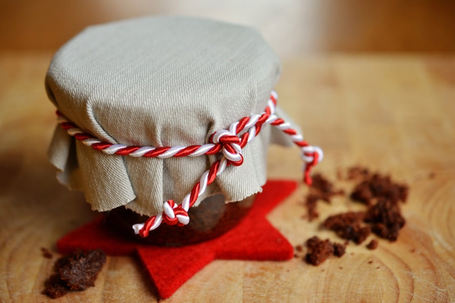 jar of brownies with red and white bow