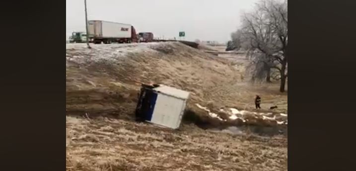 Truck ends up in ditch on I-80 after accident