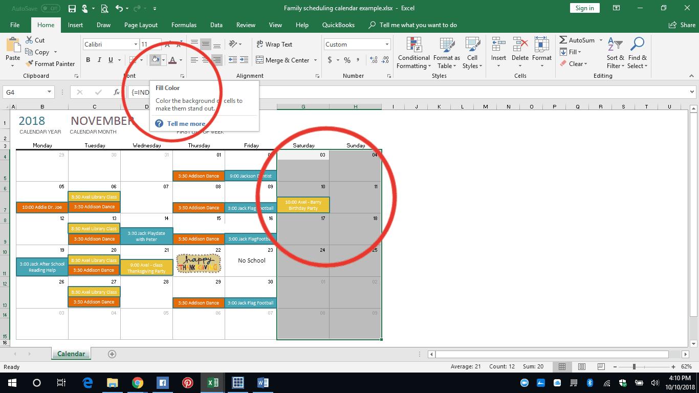 Easy Excel Diy Family Calendar