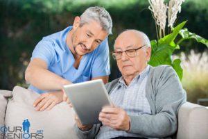 Senior using a tablet