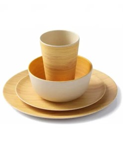 Natural Bamboo Fiber Dishware – 4PCS Tableware Set (Unboxed)