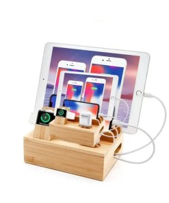 6-in-1 Bamboo Charging Station – Organized Fast Charging