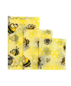 Reusable Cloth Beeswax Wrap Bee Honeycomb Pattern 3 Wrap Set - Cover