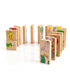 15 PCS Wooden Animal Domino Puzzle Toy - Dominos