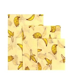 Reusable Cloth Beeswax Wrap Banana Pattern 3 Wrap Set - Cover