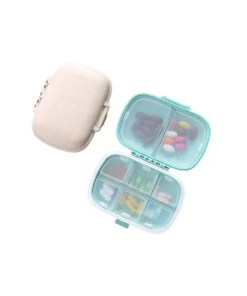 Travel Pill Box - Wheat Straw Container for Medicines - Open and Closed