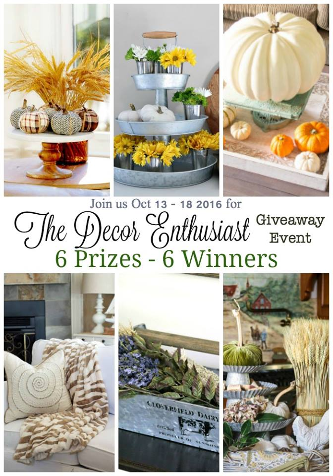 Decor Enthusiast GIVEAWAY with 6 different winners and 6 trendy home decor items!