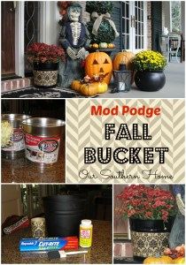 Fall Decoupage Bucket