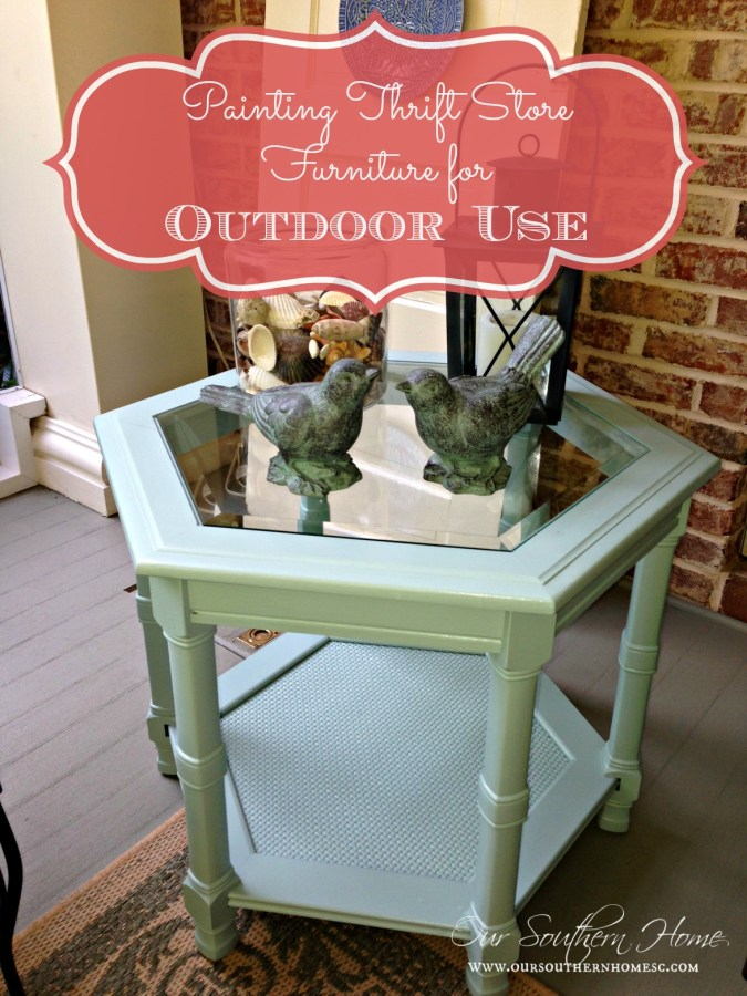 Thrift store furniture can be used on a porch with the proper paint via Our Southern Home #paintingoutdoorfurniture #thriftstore #porch