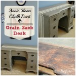 Antique desk makeover using Annie Sloan Chalk paint from Our Southern Home #ascp #grainsackpainttechnique #chalkpaint #anniesloanchalkpaint #frenchlinen