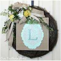 Spring Monogrammed Wreath and Hometalk Michaels Event