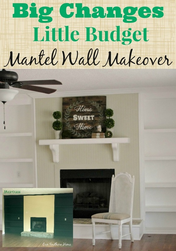 Budget Mantel Wall Makeover by Our Southern Home #mantelmakeover #mantel