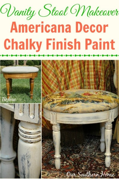 Vanity Stool Makeover with Chalky Paint