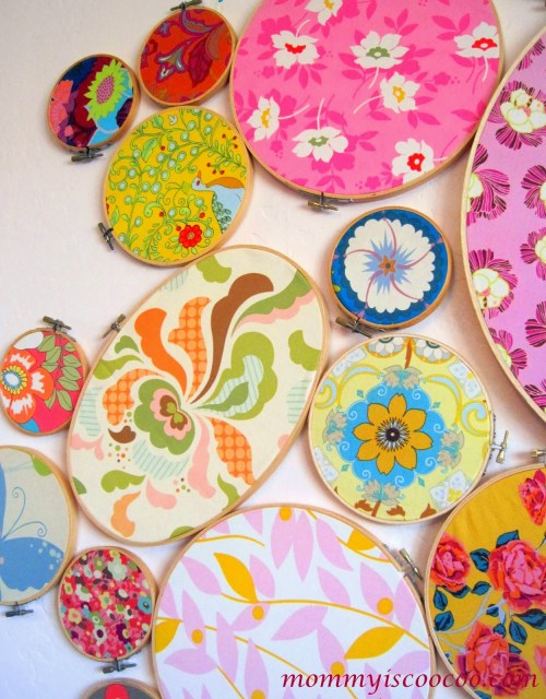 embroidery hoop wall art, fabric remnants, from mommy is coocoo