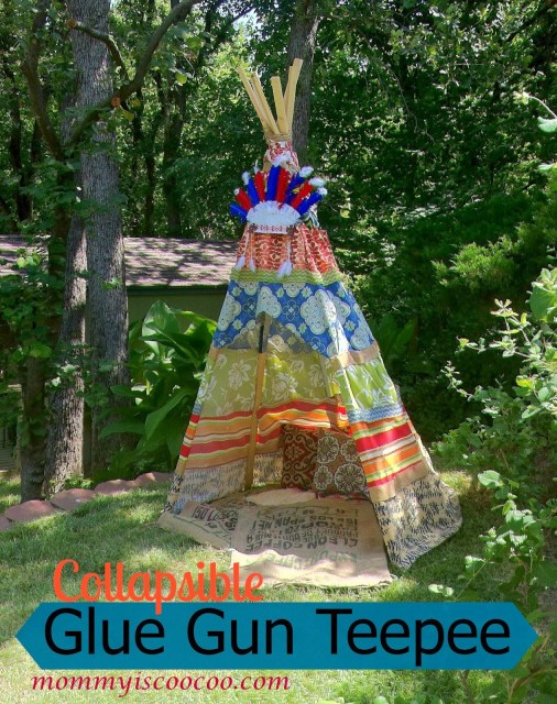 kids teepee, collapsible glue gun teepee from mommy is coocoo