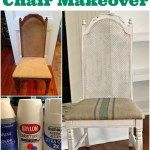 $5 thrift store chair makeover with painted burlap fabric by Our Southern Home