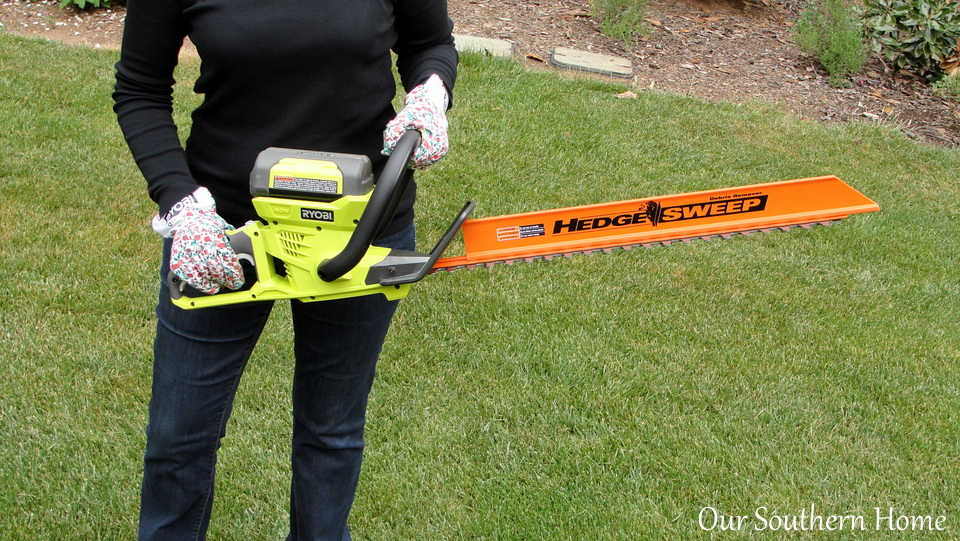 Ryobi Outdoors 40-V Lithium Hedge Trimmer via Our Southern Home #RyobiOutdoors
