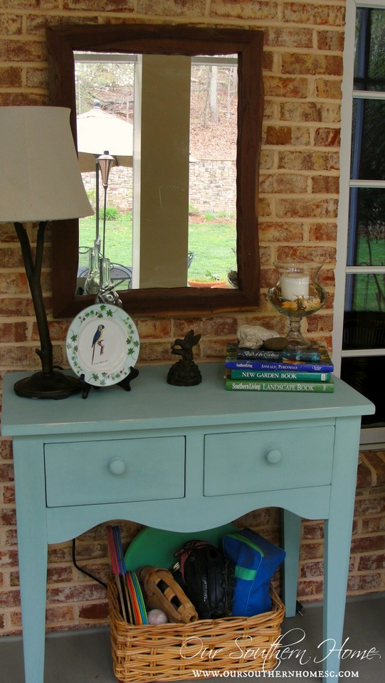 Beach inspired porch sideboard with Annie Sloan Chalk Paint by Our Southern Home