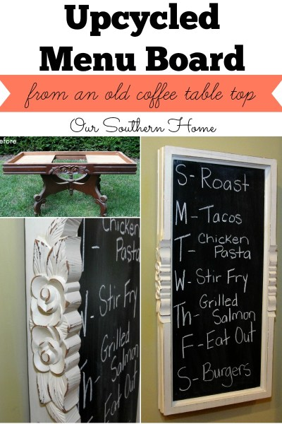 Upcyled menu board from an old coffee table base with chalky finish paint for back to school from Our Southern Home