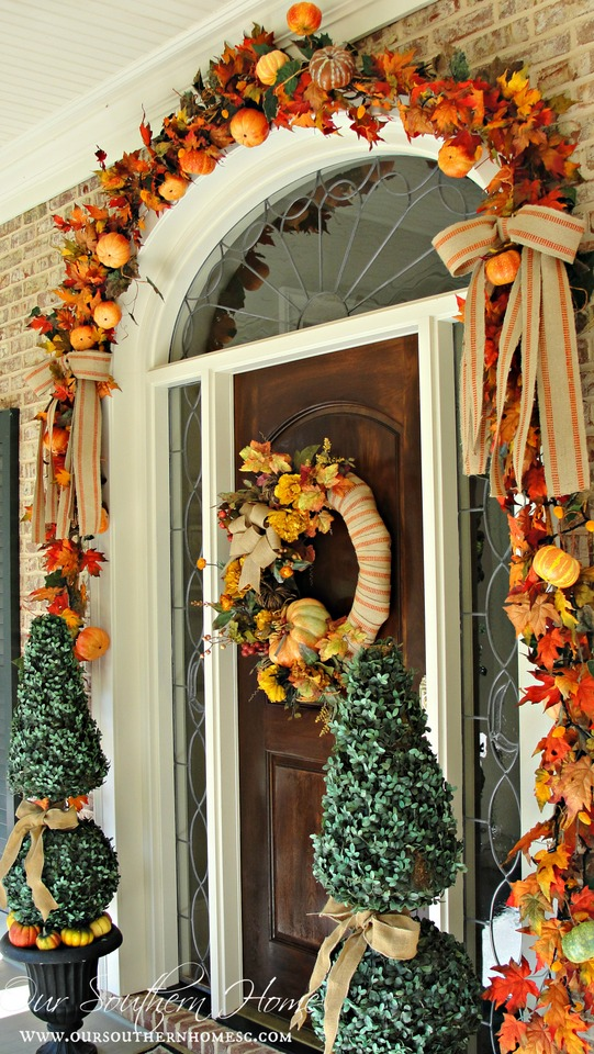 See how I took apart my old fall wreath that was in need of freshening up! I reused it to create a newup to date look for our Fall front entrance. Visit Our Southern Home for the details! #fall #falldecor #fallwreath