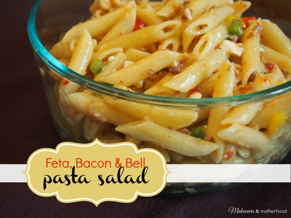 Feta, Bacon & Bell Pasta Salad; www.makeoversandmotherhood.com