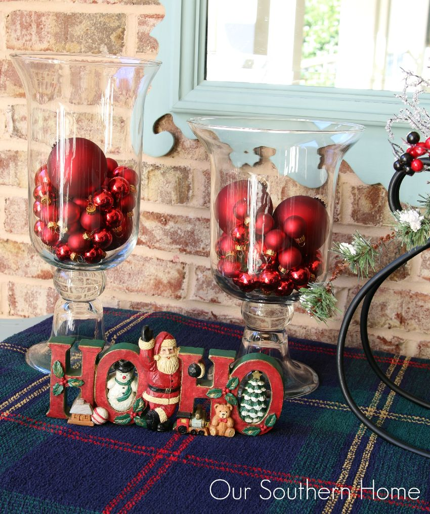 Outdoor Christmas vignette to welcome your guests into your home by Our Southern Home