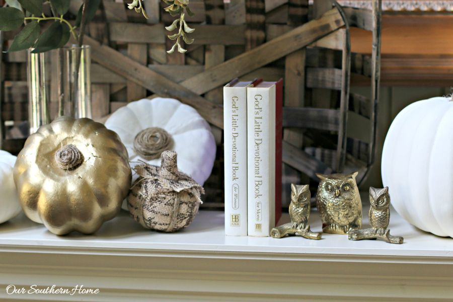 Welcoming fall mantel with a touch of bling by Our Southern Home