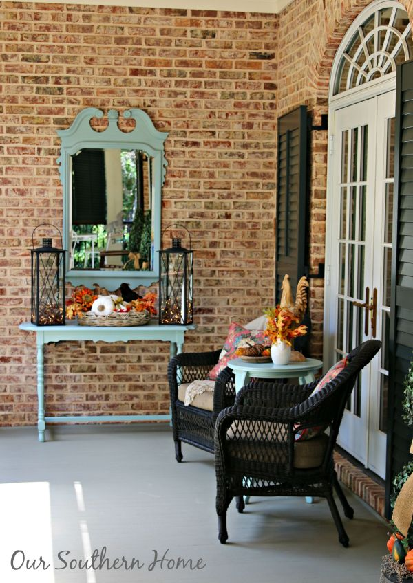 Southern fall porch decked for the harvest season by Our Southern Home