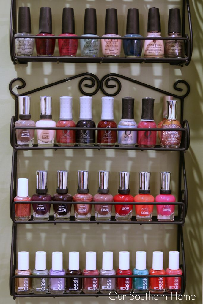 Quick and Easy nail polish organizing by Our Southern Home