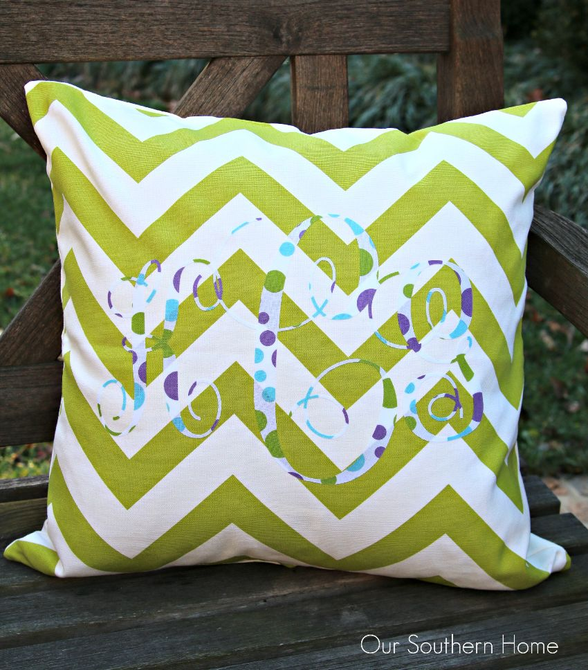 Monogram pillow using a Silhouette Cameo by Our Southern Home