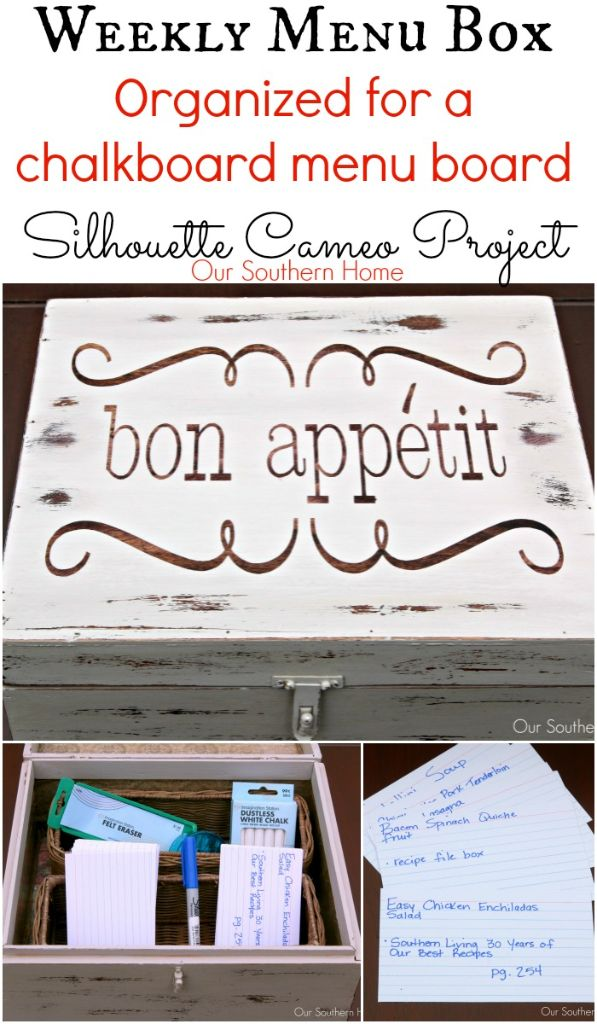 Weekly menu board storage box by Our Southern Home using a Silhouette Cameo