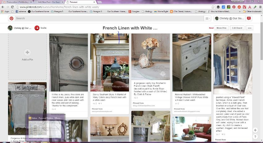 French Linen with white wash console makeover by Our Southern Home