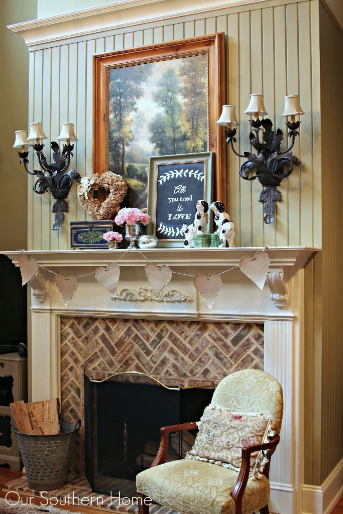 Simple Valentine's Day mantel by Our Southern Home