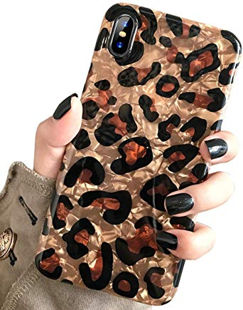 iPhone Xs & iPhone X Case, J.west Luxury Sparkle Bling Translucent Leopard Print Soft Silicone Phone Case Cover for Girls Women Flex Slim Design Pattern Drop Protective Case for iPhone Xs/x 5.8 inch