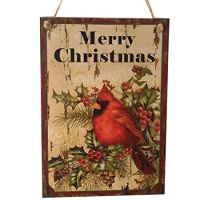 LUOEM Holiday Christmas Hanging Door Decorations Wooden Wall Sign Decorative Plaque Hanger (Merry Christmas)