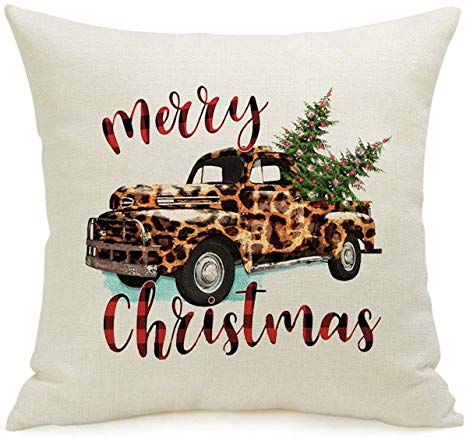 """AFOKNY Leopard Truck Christmas Tree Throw Pillow Covers Winter Holiday Sign Farmhouse Decoration Gift Cotton Linen Home Decorative Throw Pillow Case Cushion Cover for Sofa Couch 18"""" x 18"""""""